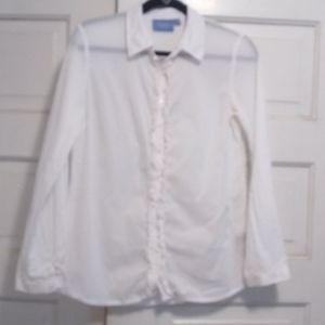 Vera Wang, Simply Vera, white long sleeve shirt.